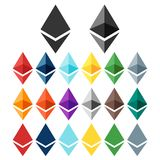 Ethereum icon/logo set. Two variations, different colors. Isolated on white Royalty Free Stock Photos