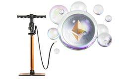 Ethereum inside soap bubble with pump. Financial bubble concept,. 3D Stock Images