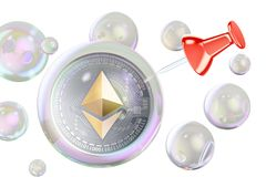 Ethereum inside soap bubble with push pin. Financial bubble conc. Ept, 3D Royalty Free Stock Image