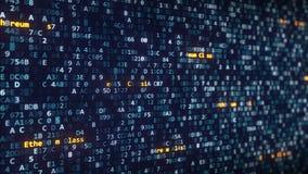 Ethereum Klassieke titels die onder veranderende hexadecimale symbolen op het computerscherm verschijnen stock video