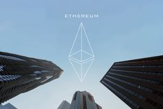 Ethereum logo Symbolscryptocurrency och bakgrund av affärsbu Arkivfoto