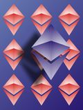 Ethereum  logo wallpaper. Ethereum logo with smaler logo`s on blue background Stock Image