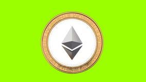 Ethereum-Münzenfliegen in einer Luft auf grünem Hintergrund stock footage