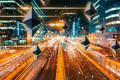Ethereum med suddig trafik för rörelse vektor illustrationer
