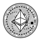 Ethereum mennicza czarna sylwetka Obraz Stock