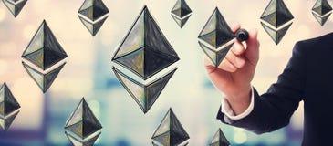 Ethereum met zakenman Royalty-vrije Stock Afbeelding