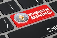 Ethereum mining concept on keyboard button, 3D rendering. Ethereum mining concept on keyboard button, 3D Stock Photography