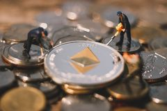 Ethereum mining and mine ETH. royalty free stock photography