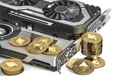 Ethereum mining. Using powerful Video cards to mine and earn cryptocurrencies. Concept. 3D illustration royalty free illustration