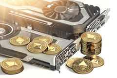 Ethereum mining. Using powerful Video cards to mine and earn cryptocurrencies. Concept. 3D illustration stock illustration