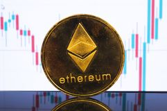 Ethereum is a modern way of exchange and this crypto currency. Is a convenient means of payment in the financial and web markets royalty free stock photo