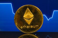 Ethereum is a modern way of exchange and this crypto currency. Is a convenient means of payment in the financial and web markets royalty free stock images