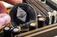 Ethereum is a modern way of exchange and this crypto currency. Is a convenient means of payment in the financial and web markets stock photo