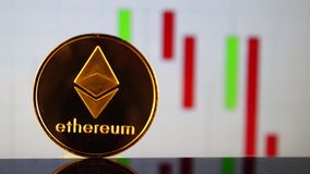 Ethereum is a modern way of exchange and this crypto currency. Is a convenient means of payment in the financial and web markets stock footage