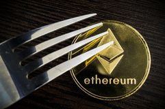 Ethereum is a modern way of exchange and this crypto currency royalty free stock photo