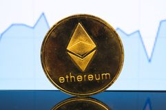 Ethereum is a modern way of exchange and this crypto currency. Is a convenient means of payment in the financial and web markets stock image