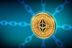 Ethereum Moeda cripto Corrente de bloco moeda física isométrica de 3D Ethereum com corrente do wireframe Conceito de Blockchain G ilustração royalty free