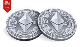 Ethereum moedas 3D físicas isométricas Moeda de Digitas Cryptocurrency Moedas de prata com símbolo do ethereum isoladas no backg  Imagens de Stock Royalty Free