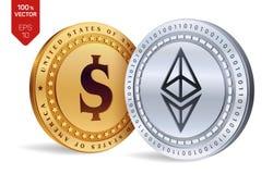 Ethereum Moneta del dollaro monete fisiche isometriche 3D Valuta di Digital Cryptocurrency Le monete dorate e d'argento con Ether Fotografia Stock Libera da Diritti