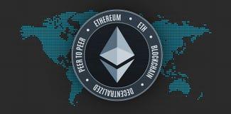 Ethereum moneta nad światową mapą Zdjęcia Royalty Free