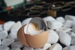 Ethereum moneta w łamanym eggshell obraz royalty free