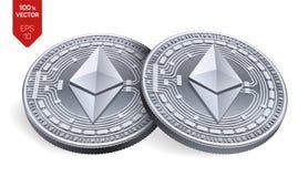 Ethereum monete fisiche isometriche 3D Valuta di Digital Cryptocurrency Monete d'argento con il simbolo di ethereum isolate su ba Immagini Stock Libere da Diritti