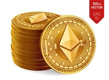 Ethereum monete fisiche isometriche 3D Valuta di Digital Cryptocurrency Pila di monete dorate con il simbolo di Ethereum Fotografia Stock