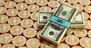 Ethereum monety i Dolarowi rachunki Obraz Stock