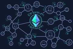 Ethereum Network Blockchain Conceptual Illustration Stock Photo