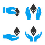 Ethereum Offfer Hands Vector Icon Set. Style is bicolor flat symbols Vector Illustration