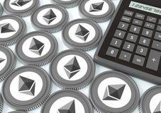Ethereum Offrendo sullo scambio con valuta cripto Extracti Illustrazione di Stock
