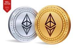 Ethereum pièces de monnaie 3D physiques isométriques Devise de Digital Cryptocurrency Pièces d'or et en argent avec le symbole d' Image stock