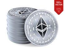 Ethereum pièces de monnaie 3D physiques isométriques Devise de Digital Cryptocurrency Pile de pièces en argent avec le symbole d' illustration de vecteur