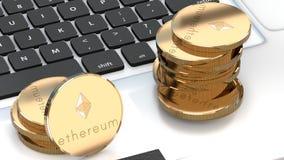 Ethereum pieniądze, bitcoin alternatywa, cyber waluta royalty ilustracja