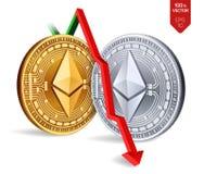 Ethereum Queda Seta vermelha para baixo A avaliação do índice de Ethereum vai para baixo no mercado de troca Moeda cripto 3D dour Imagens de Stock Royalty Free