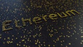 Ethereum słowo robić złote liczby Cryptocurrency transakcje lub kopalnictwo odnosić sie konceptualnego 3D rendering Obrazy Stock