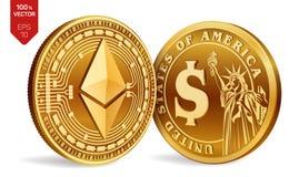 Ethereum Schöne vektorabbildung isometrische körperliche Münzen 3D Digital-Währung Cryptocurrency Goldene Münzen mit Symbol Ether Lizenzfreie Stockfotos