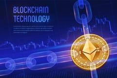 Ethereum Schlüsselwährung Block-Kette isometrische körperliche goldene Ethereum Münze 3D mit wireframe Kette auf blauem Finanz-ba Lizenzfreies Stockbild