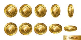 Ethereum Sistema de monedas crypto del oro realista 3d Flip Different Imagen de archivo