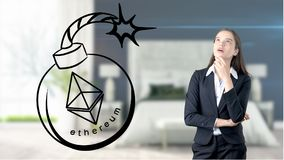 Ethereum sketch with young businesswoman in a suit with longhair and pretty thoughtful face. Criptocurrency concept. Ethereum sketch with young businesswoman in Royalty Free Stock Photos
