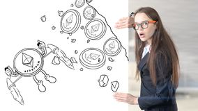 Ethereum sketch with young businesswoman in a suit with longhair and pretty thoughtful face. Criptocurrency concept. Ethereum sketch with young businesswoman in Stock Photography