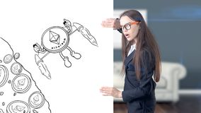 Ethereum sketch with young businesswoman in a suit with longhair and pretty thoughtful face. Criptocurrency concept. Ethereum sketch with young businesswoman in Royalty Free Stock Image