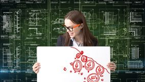Ethereum sketch with young businesswoman in a suit with longhair and pretty thoughtful face. Criptocurrency concept. Ethereum sketch with young businesswoman in Royalty Free Stock Photography