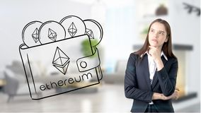 Ethereum sketch with young businesswoman in a suit with longhair and pretty thoughtful face. Criptocurrency concept. Ethereum sketch with young businesswoman in Stock Images