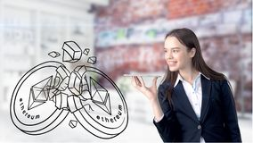 Ethereum sketch with young businesswoman in a suit with longhair and pretty thoughtful face. Criptocurrency concept. Ethereum sketch with young businesswoman in Stock Image