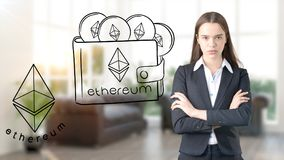 Ethereum sketch with young businesswoman in a suit with longhair and pretty thoughtful face. Criptocurrency concept. Ethereum sketch with young businesswoman in Stock Photo