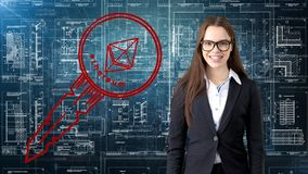 Ethereum sketch with young businesswoman in a suit with longhair and pretty thoughtful face. Criptocurrency concept. Ethereum sketch with young businesswoman in Royalty Free Stock Images