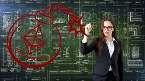 Ethereum sketch with young businesswoman in a suit with longhair and pretty thoughtful face. Criptocurrency concept. Ethereum sketch with young businesswoman in Royalty Free Stock Photo
