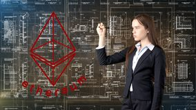 Ethereum sketch with young businesswoman in a suit with longhair and pretty thoughtful face. Criptocurrency concept. Ethereum sketch with young businesswoman in Stock Photos