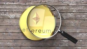 Ethereum stänger sig upp, förstoringsglaset, crypto valutaanalys royaltyfri illustrationer